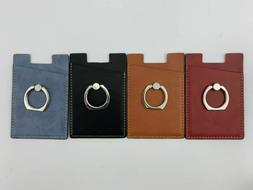 Leather Credit Card Holder Cell Phone Wallet Ring Pocket Sti