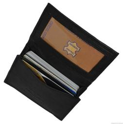 Leather Credit Card & ID Holder Slim Design Black Men's Wall