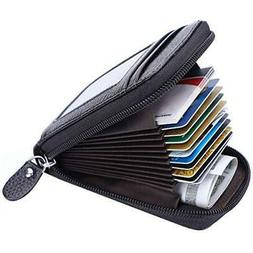 Leather Credit Card Wallet with Zipper, MaxGear RFID Credit