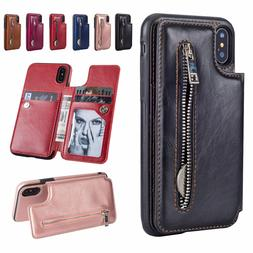 Leather Flip Wallet Card Holder Case Zipper Stand Cover For