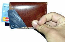 Leather Men's Women's Small Id Credit Card Wallet Holder Sli