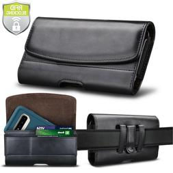 Leather Phone Belt Clip Holster Pouch Case Card Holder RFID