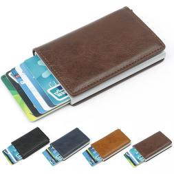 Leather Pop-up Purse Aluminum Metal Credit Card Case Wallet