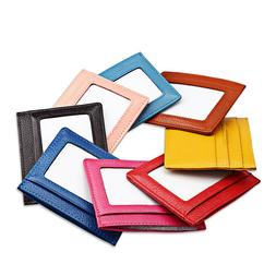 Leather Women's Men's RFID Small ID Credit Card Wallet Holde