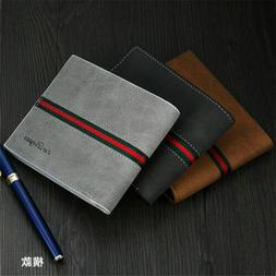 men leather bifold id card holder purse