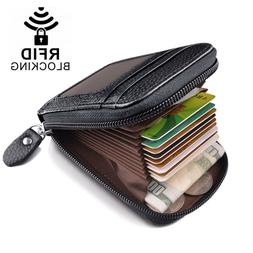 Men Leather Credit Card Holder RFID-Blocking Zipper Pocket W