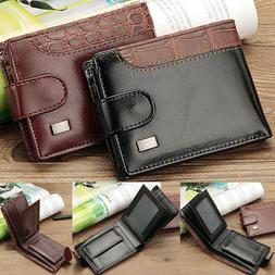 Men's Bifold Leather Card Holder Wallet with Flap Coin Pocke