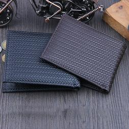 Men's Business Leather Weave Wallet ID Credit Card Holder Ca