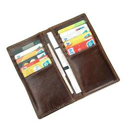 Elfish Men's Genuine Cow Leather RFID Blocking Checkbook Wal