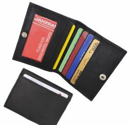 Men's Genuine Leather Bifold Slim Thin ID Card Holder W/Snap