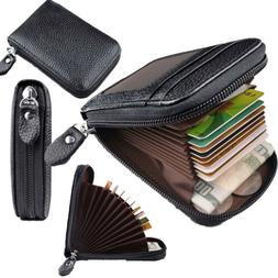 Men's Genuine Leather Credit Card Wallet Holder RFID Blockin