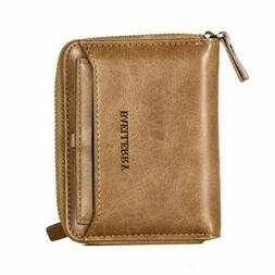 Men Men's Leather Bifold Credit ID Card Holder Wallet w Zipp