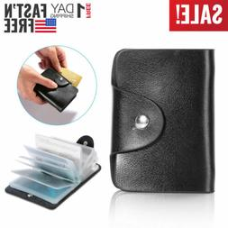 Men's Leather Business 26 Card ID Credit Card Holder Case Or