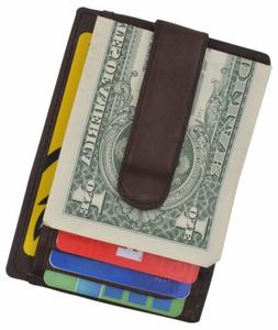 Men's Leather Slim Money Clip Front Pocket Wallet Credit Car