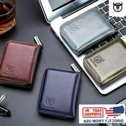 Men's Leather Trifold Wallet ID Card Holder Purse RFID Block