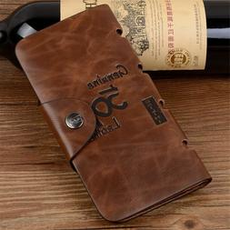 Men's Leather Wallet Bifold ID Card Holder Checkbook Long Cl