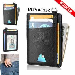 Men's Minimalist Thin Leather Wallet Slim Front Pocket RFID
