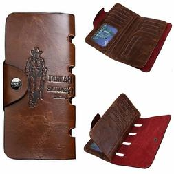 Men's Wallet Leather Cowboy Extra Capacity Checkbook Case ID