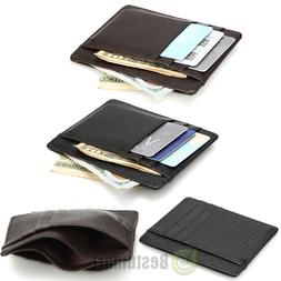 Men's Women's Leather Money Clip ID Credit Card Wallet Holde