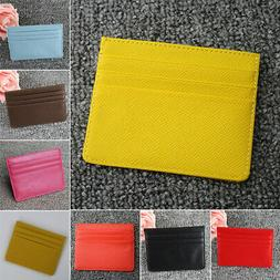 Men's Women's PU Leather Small ID Credit Card Wallet Holder