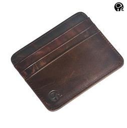Men's Womens Real Leather Small Id Credit Card Wallet Holder