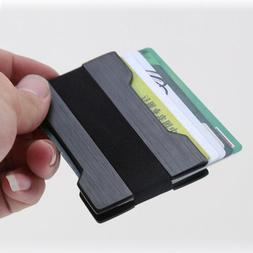Men Slim Front Pocket Black Wallet Credit Card Holder Money