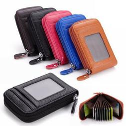 Men Wallet Credit Card Holder Genuine Leather RFID Blocking