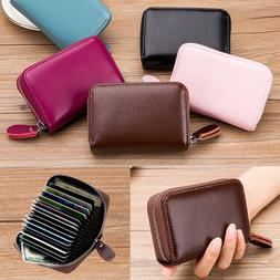 US Men Women Wallet Leather Credit Card Holder RFID Blocking