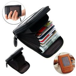 Men Womens Genuine Leather ID Credit Card Holder RFID Protec