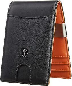 Mens Bifold Wallet RFID Blocking with Money Clip and Credit