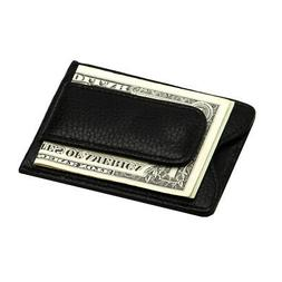 Mens Genuine Leather Money Clip Wallet Black Credit Card Poc