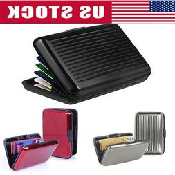 Mens Leather Business ID Credit Card Holder RFID Protector W