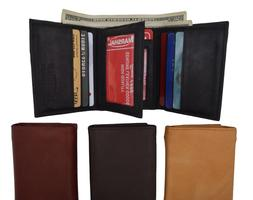 Mens Trifold Leather 9 Credit cards and 2 IDs Classic Style