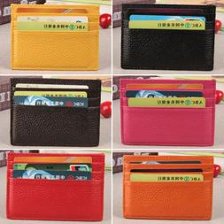 Mens Womens Slim ID Credit Card Holder Case Purse Leather Po
