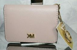 MICHAEL KORS MONEY PIECES KEY RING CARD HOLDER SOFT PINK LEA
