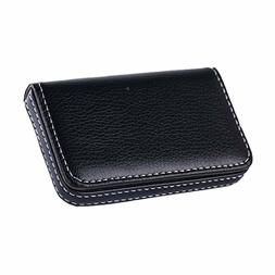New Black Pocket PU Leather Business ID Credit Card Holder C