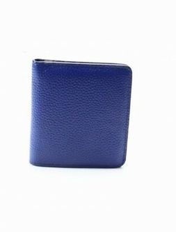 Ainimoer NEW Blue Pebble Leather Silver Tone ID Cardholder B