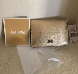 NEW MICHAEL KORS LEATHER KEY CARD HOLDER GOLD SEALED