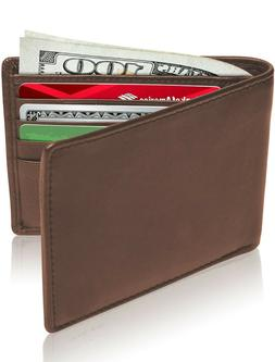 New Leather Mens Bifold Wallet With Removable Slim Cardholde