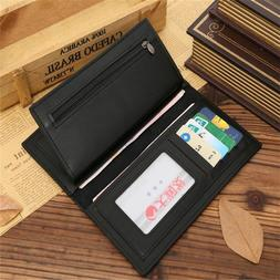 New Men's Business Long Leather Wallet Credit Card Holder Cl