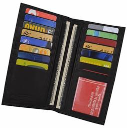 New Men's Leather Long Wallet Pockets ID Card Clutch Bifold