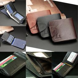 NEW Men's Retro Leather Clutch Short Wallets Casual Card Hol