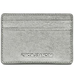 New Michael Kors Pewter Silver Money Pieces Card Holder