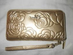 NWOT Cluci Women's Gold Leather Wristlet with Credit Card Ho