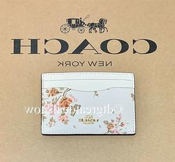 NWT Coach Women's Slim Card Case Holder Leather Rose Bouquet