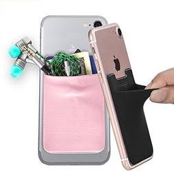 Phone Card Holder, COCASES Stick on Wallet Stretchy Lycra St