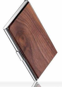MaxGear Professional Walnut Wood Metal Business Card Holder