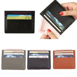 Real Leather Men's Womens Small Id Credit Card Wallet Holder
