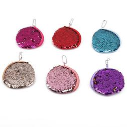 Reversible Card Holder Sequin Coin Wallet Card Cases Phone B