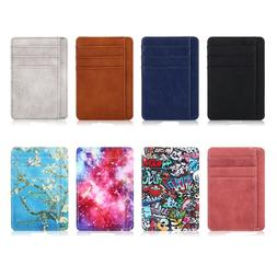 RFID Blocking Leather Credit Card Holder ID Case Pocket Wall